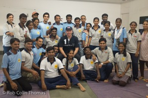 Steve Waugh, Laureus Ambassador, with Magic Bus Mentors from Mumbai, Tahne and Pune at MAgic Bus Centre