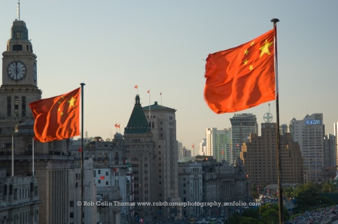 Flags over The Bund, Shanghai, China
